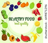 healthy food illustration with...   Shutterstock . vector #649871296