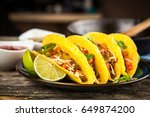 mexican tacos with beef | Shutterstock . vector #649874200