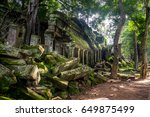the temples in angkor wat are... | Shutterstock . vector #649875499