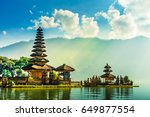 pura ulun danu temple on a lake ... | Shutterstock . vector #649877554