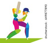 a young athlete is a cricket... | Shutterstock .eps vector #649877890