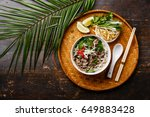 pho bo vietnamese soup with... | Shutterstock . vector #649883428