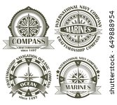 set of vintage compasses with a ... | Shutterstock .eps vector #649888954