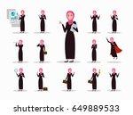 set of arabic businesswoman... | Shutterstock .eps vector #649889533