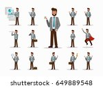 set of businessman character... | Shutterstock .eps vector #649889548