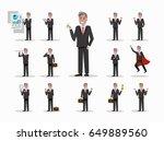 set of senior businessman... | Shutterstock .eps vector #649889560
