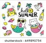 Stock vector set of cute and fun summer stickers badges icons patches design elements 649890754