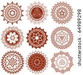 mehndi mandalas elements  henna ... | Shutterstock .eps vector #64989298