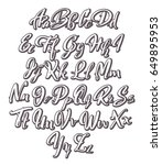 calligraphic hand drawn alphabet | Shutterstock .eps vector #649895953