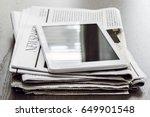 newspaper and digital tablet on ... | Shutterstock . vector #649901548
