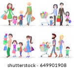 set of four happy families... | Shutterstock . vector #649901908