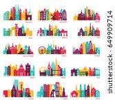 skyline detailed silhouette set ... | Shutterstock .eps vector #649909714
