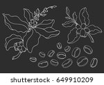 set with coffee branch with... | Shutterstock .eps vector #649910209