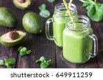 avocado and spinach smoothies | Shutterstock . vector #649911259