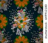 flower illustration. seamless... | Shutterstock . vector #649912180