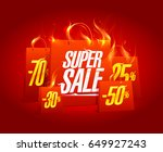 super sale poster banner with... | Shutterstock .eps vector #649927243