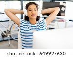 young woman in office with... | Shutterstock . vector #649927630
