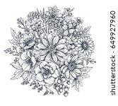 floral composition. bouquet... | Shutterstock .eps vector #649927960