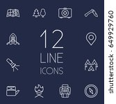 set of 12 outdoor outline icons ... | Shutterstock .eps vector #649929760