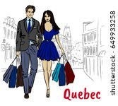 woman and man with shoping bags.... | Shutterstock .eps vector #649933258
