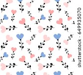 cute lovely heart flowers...   Shutterstock .eps vector #649935070