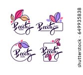 vector collection of doodle flowers emblems frames and logo with beauty studio lettering composition | Shutterstock vector #649935838