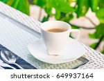 shot of espresso coffee cup on ... | Shutterstock . vector #649937164