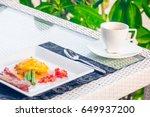 set of breakfast include coffee ... | Shutterstock . vector #649937200