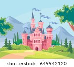 Vector illustration for children with fairy pink castle. Medieval fairytale magical magic fortress fort royal palace.