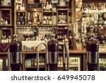 pub interior with beer taps and ... | Shutterstock . vector #649945078