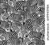 zebra seamless pattern. wild... | Shutterstock .eps vector #649945984