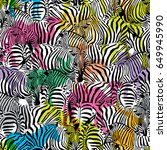 zebra with colorful silhouette... | Shutterstock .eps vector #649945990