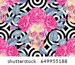 seamless mexican pattern with... | Shutterstock .eps vector #649955188