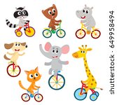 cute little animal characters... | Shutterstock .eps vector #649958494