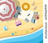 sandy beach with an umbrella... | Shutterstock .eps vector #649960999