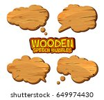 set of wooden speech bubbles... | Shutterstock .eps vector #649974430