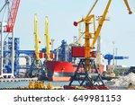 bulk cargo ship under port... | Shutterstock . vector #649981153