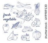 doodle set of fresh vegetable... | Shutterstock .eps vector #649989130