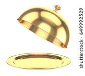 restaurant cloche with open lid.... | Shutterstock . vector #649992529