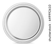 empty silver coin or medal...   Shutterstock . vector #649992610