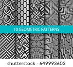 vector set of ten geometric... | Shutterstock .eps vector #649993603