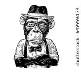 monkey hipster with paws... | Shutterstock .eps vector #649996174