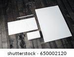 branding template on wooden... | Shutterstock . vector #650002120