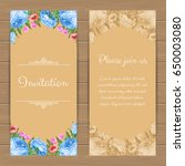 floral invitation or greeting... | Shutterstock .eps vector #650003080