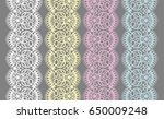 set of lace ribbons for design...   Shutterstock .eps vector #650009248