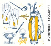 golf set with basket  shoes ... | Shutterstock .eps vector #650020444