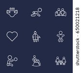 set of 9 family outline icons... | Shutterstock .eps vector #650021218