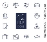 set of 12 trade outline icons... | Shutterstock .eps vector #650021953
