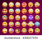 set of cute emoticons on black... | Shutterstock .eps vector #650027254