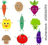 different cute vector... | Shutterstock .eps vector #650036593